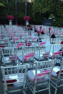 Pink lilac chairs ceremony